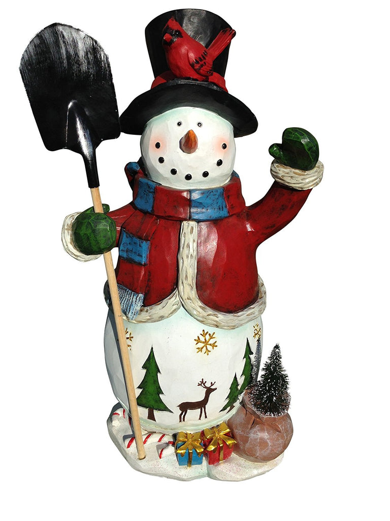 Tall christmas snowman figure hand painted artisan