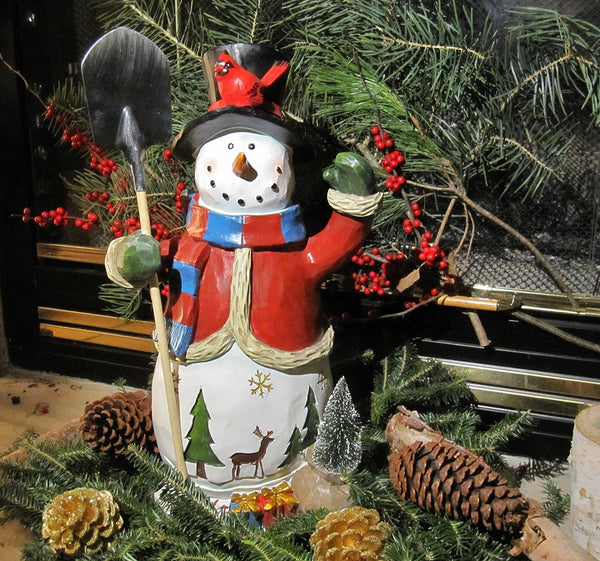 "20"" Tall Christmas Snowman Figure, Hand Painted, Artisan, Vintage, Rustic Look -Holiday Tabletop or Floor Statue Decoration-  for Indoor Use, by Clovers Decor"