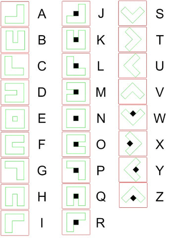 Pig Pen Cipher Letters and Symbols Picture