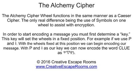 alchemy cipher for escape rooms