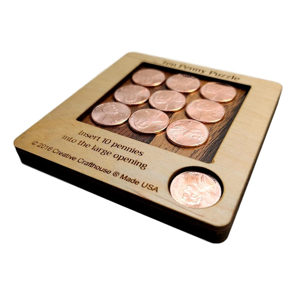 Creative Escape Rooms 10 Penny Puzzle - A Fun Packing Puzzle - Ten Pennies Included