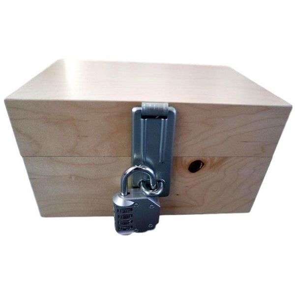Creative Escape Rooms 12 x 9 x 6 Inch Wood Escape Room Lock Box With Hasp