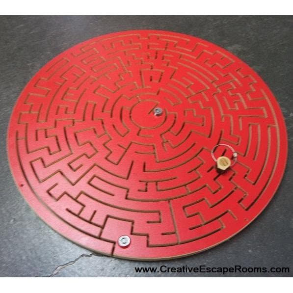 Red Wood Round Gated Key Maze Escape Rooms Prop
