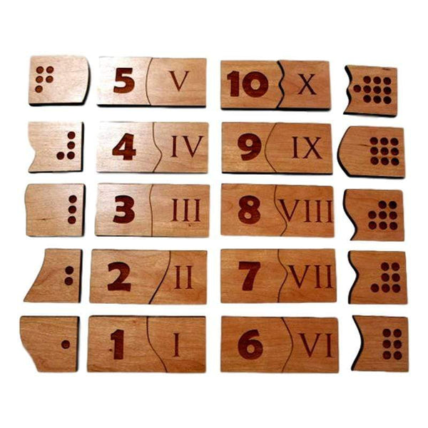 Purple Games Studio Roman Numeral and Counting Montessori Puzzle for Kids and Toddlers