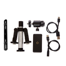Load image into Gallery viewer, TalentTracker includes phone clamp, ball head, balancing adapter, charging cable, DSLR control port and the Rollocam H-2, the world's most intelligent tripod