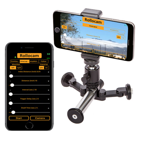 Rollocam H-2 The world's most intelligent, portable tripod for SmartPhones, DSLRs, MirrorLess and Adventure Cameras
