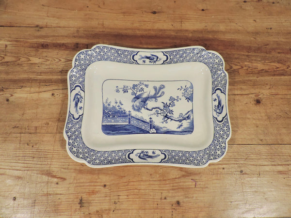 Blue and white serving platter - England