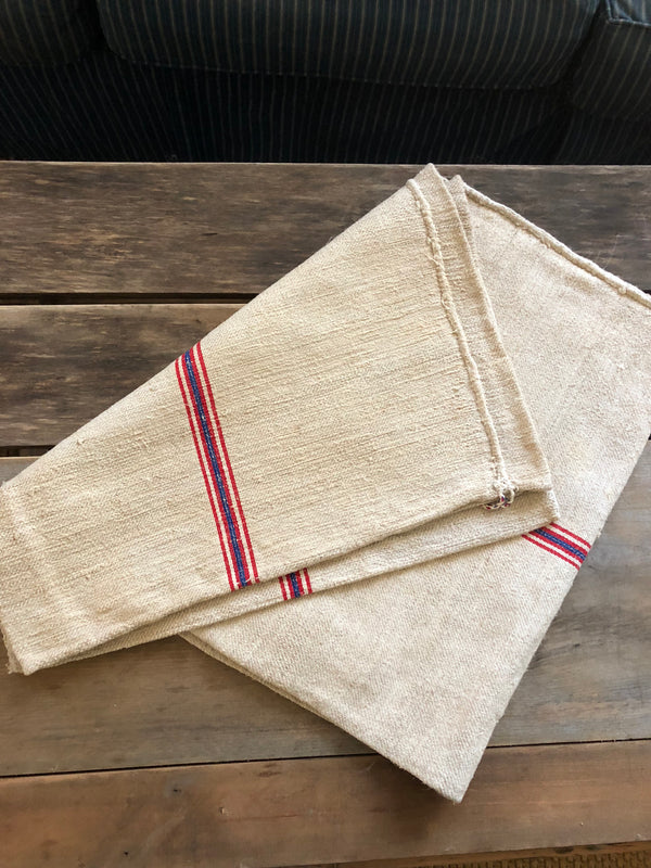 Vintage grain sack blue with red stripe