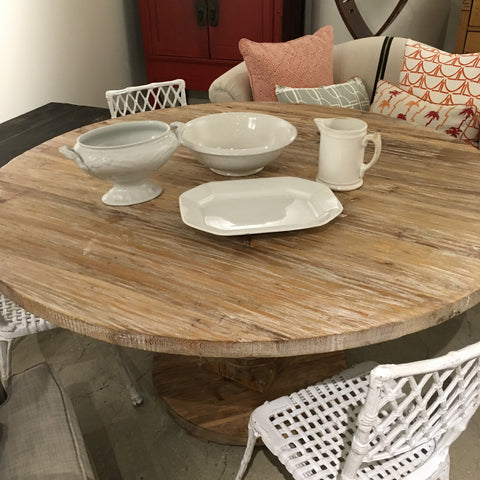 Pedestal table white wash finish