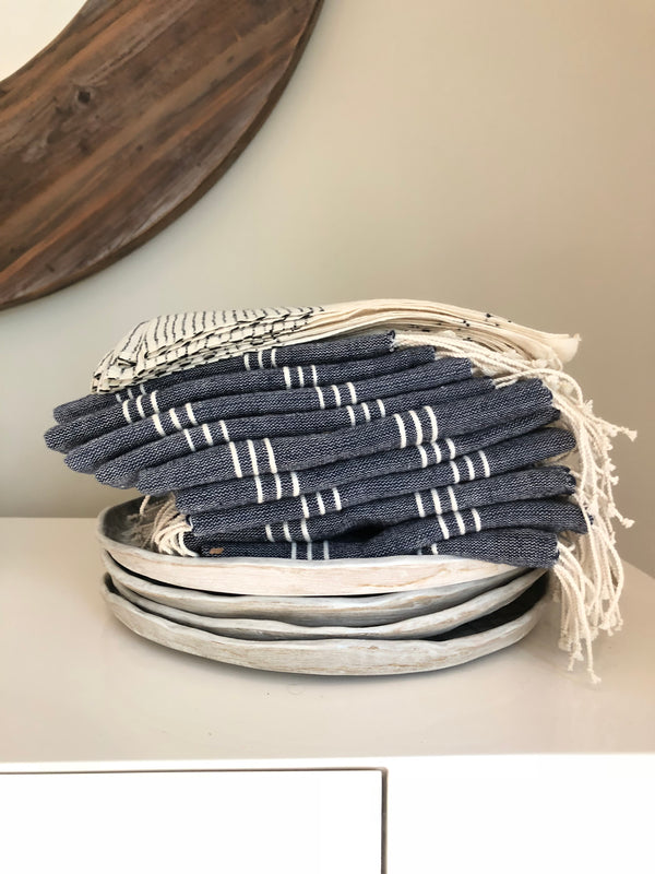 Denim Striped Hand Towels