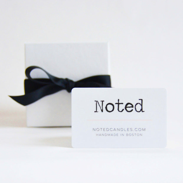 Noted Candles Gift Card, displayed with a classic gift box.