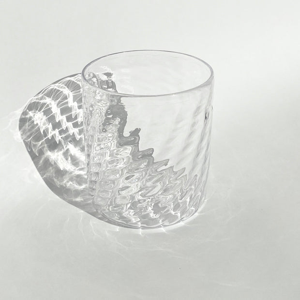 Hand Blown Glass - Crystal Herringbone