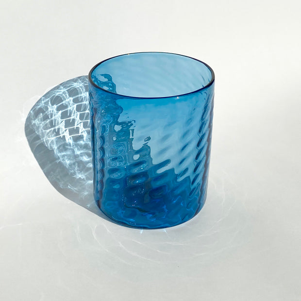 Hand Blown Glass - Indigo Herringbone