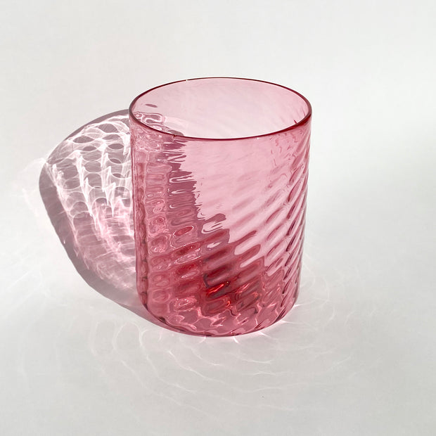 Hand Blown Glass - Rose Herringbone