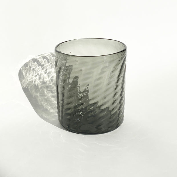 Hand Blown Glass - Smoke Herringbone