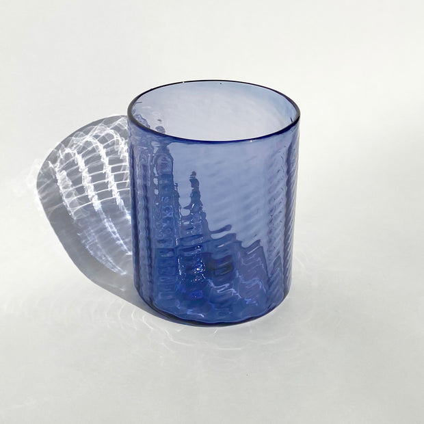 Hand Blown Glass - Violet Herringbone