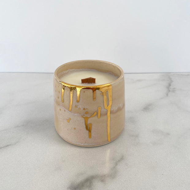 Michelle Barrett Collaboration vessel with Tan Salt Effect Ceramic Finish and Gold Drip with Wooden Wick