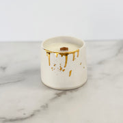 White Ceramic and Gold Drip Candle designed by Michelle Barrett