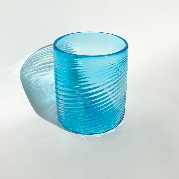Hand Blown Glass - Bright Blue Ribbon