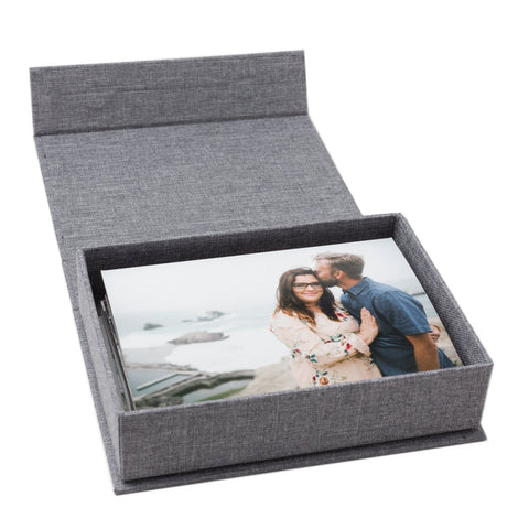 gray linen 4x6 photo box