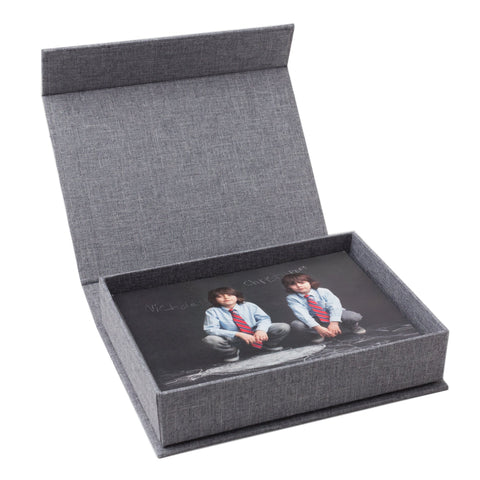 5x7 gray linen photo box