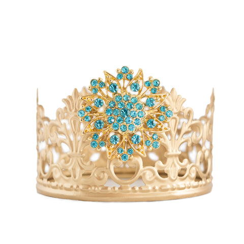 Gold Crown Cake Topper ~ with Blue Topaz Rhinestones