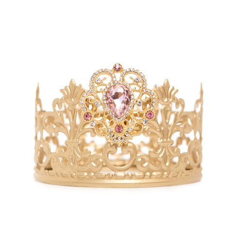Gold Crown Cake Topper ~ with Pink Rhinestones