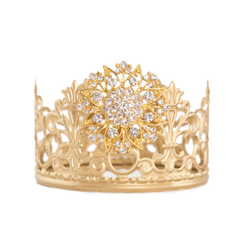 Gold Crown Cake Topper ~ with White Rhinestones