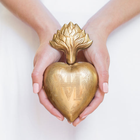 Large Flame Sacred Heart ~ Gold