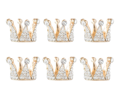 Tiny Gold Rhinestone Crowns (6)
