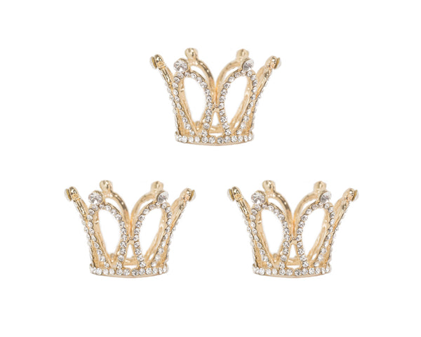 Mini Gold Rhinestone Crowns (3)