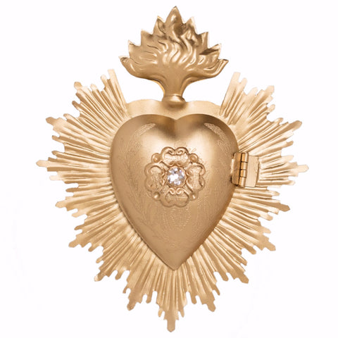 sacred heart gold with rhinestone