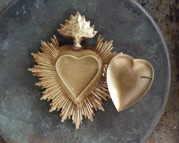 Gold Sacred Heart ~ with Swarovski Crystal