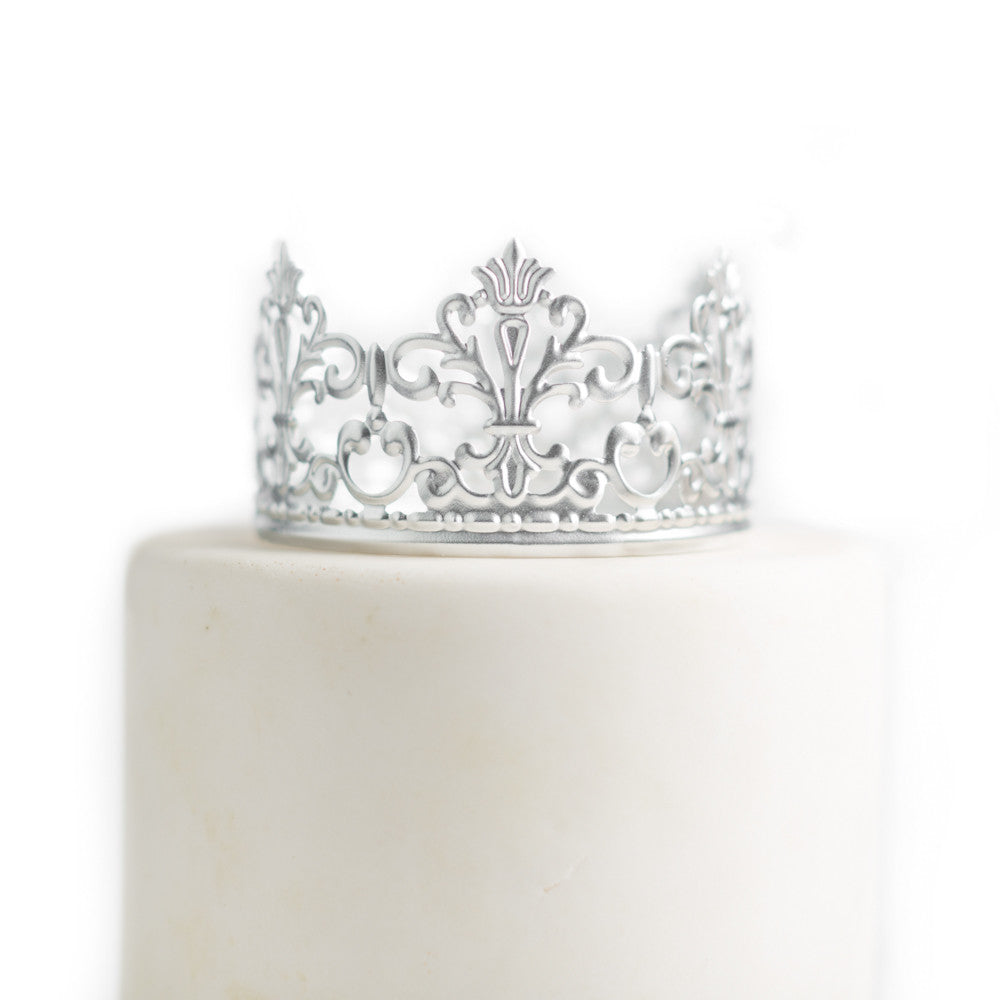 Silver Crown Cake Topper ~ Jane