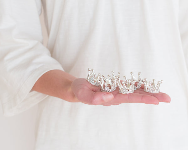 Tiny Silver Rhinestone Crowns (6)
