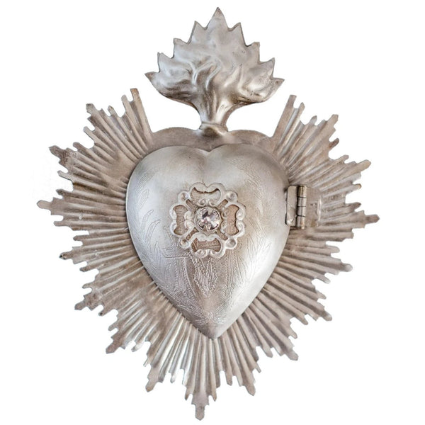 Silver Sacred Heart ~ with Swarovski Crystal
