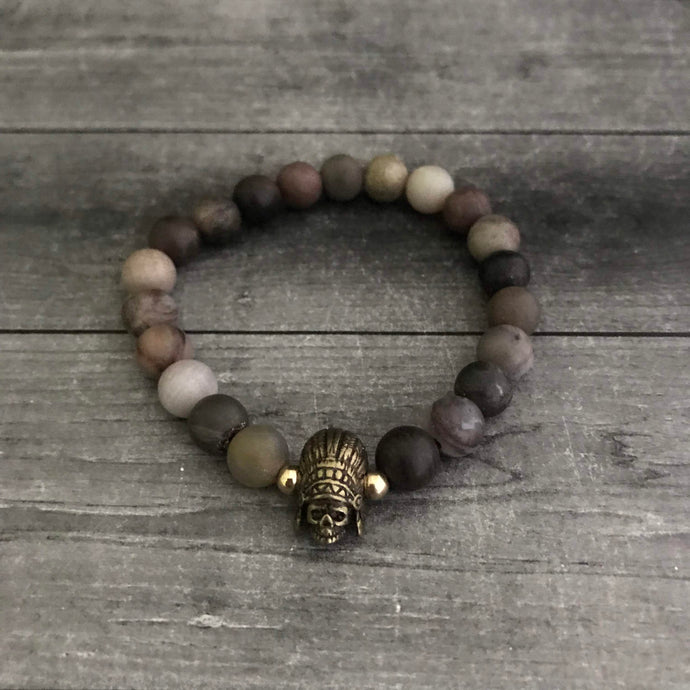 The Native Skull Bracelet in Wood Jasper