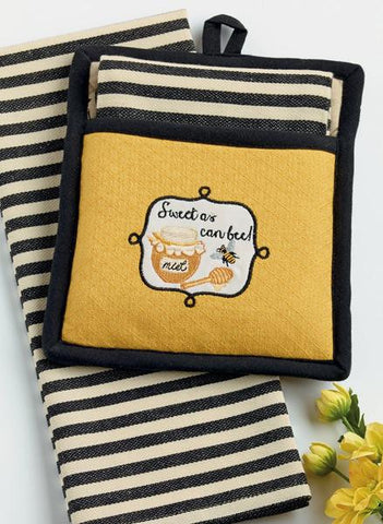 Sweet as Can Bee Potholder/Towel  Gift Set