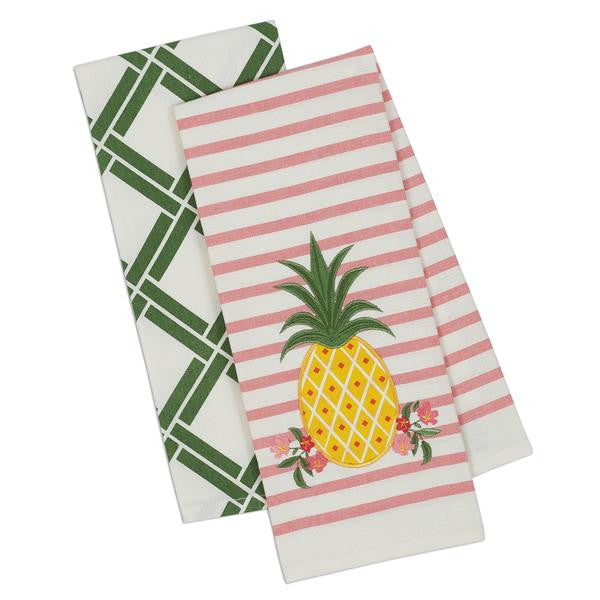 Pineapple Dish Towels Set of 2 Coordinating