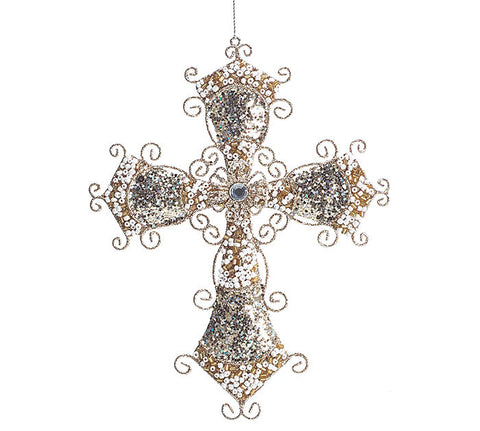 "Large 6 3/4"" Glitter Gemstone Beaded Cross Ornament"