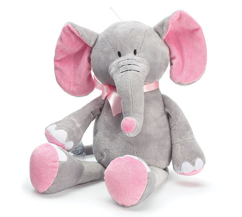 Grey Elephant Plush with Pink  - Baby Girl Gift
