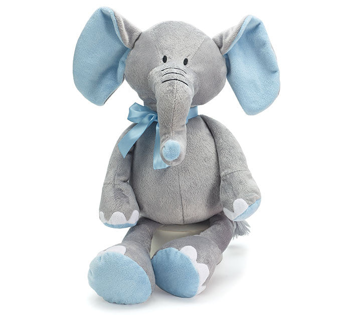 Grey Elephant Plush with Blue -- Baby Boy Gift