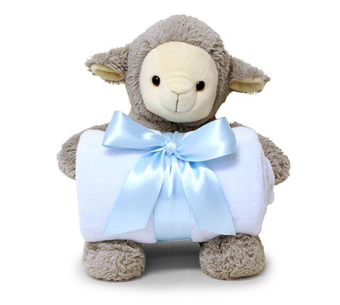 Grey Lamb w/Super Soft Fleece Baby Blanket Blue