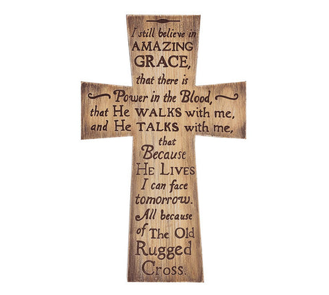 Wood Cross - I still Believe in Amazing Grace