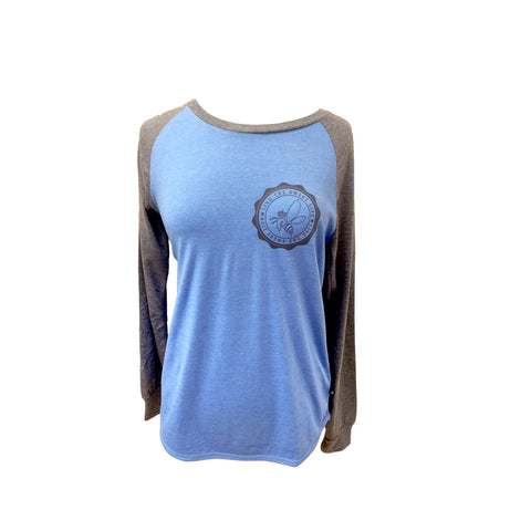 Crown & Honey Raglan Two Tone T-Shirt Baseball Shirt Ocean Blue