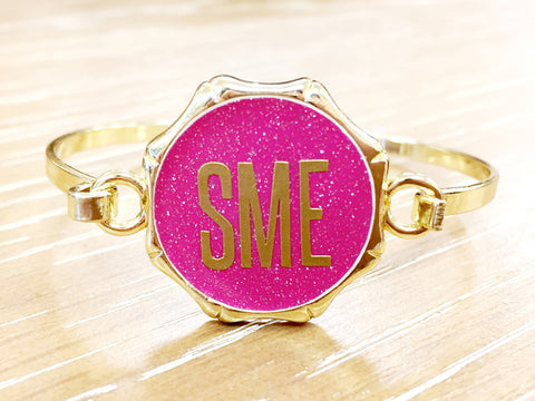 Initial Monogram Bangle Bracelet - Gold