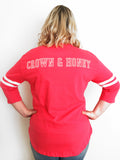 Crown & Honey Rally Jersey Tee - Coral Pink