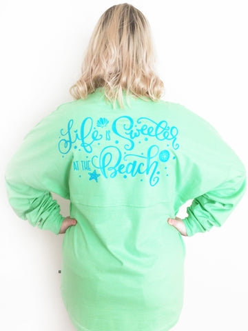 Life is Sweeter at the Beach Game Day Jersey - Lime