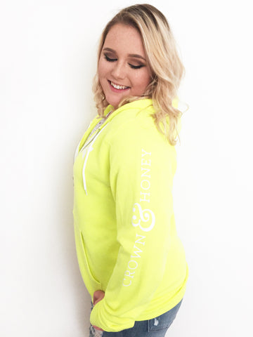 Neon Full Zip Hoodie Crown and Honey - YELLOW