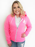 Neon Full Zip Hoodie Crown and Honey - PINK